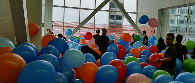 Setting up for a balloon themed event